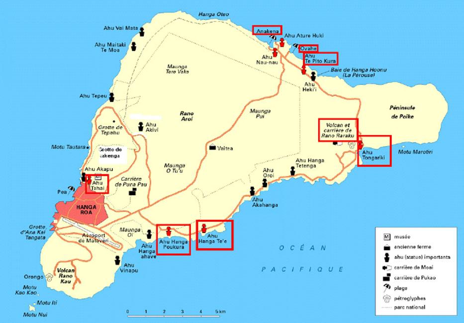 Carte de L'Ile de Pâques - Chili